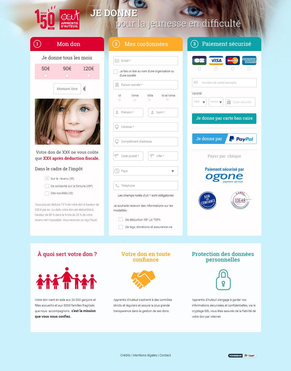 screenshot Espace bienfaiteur