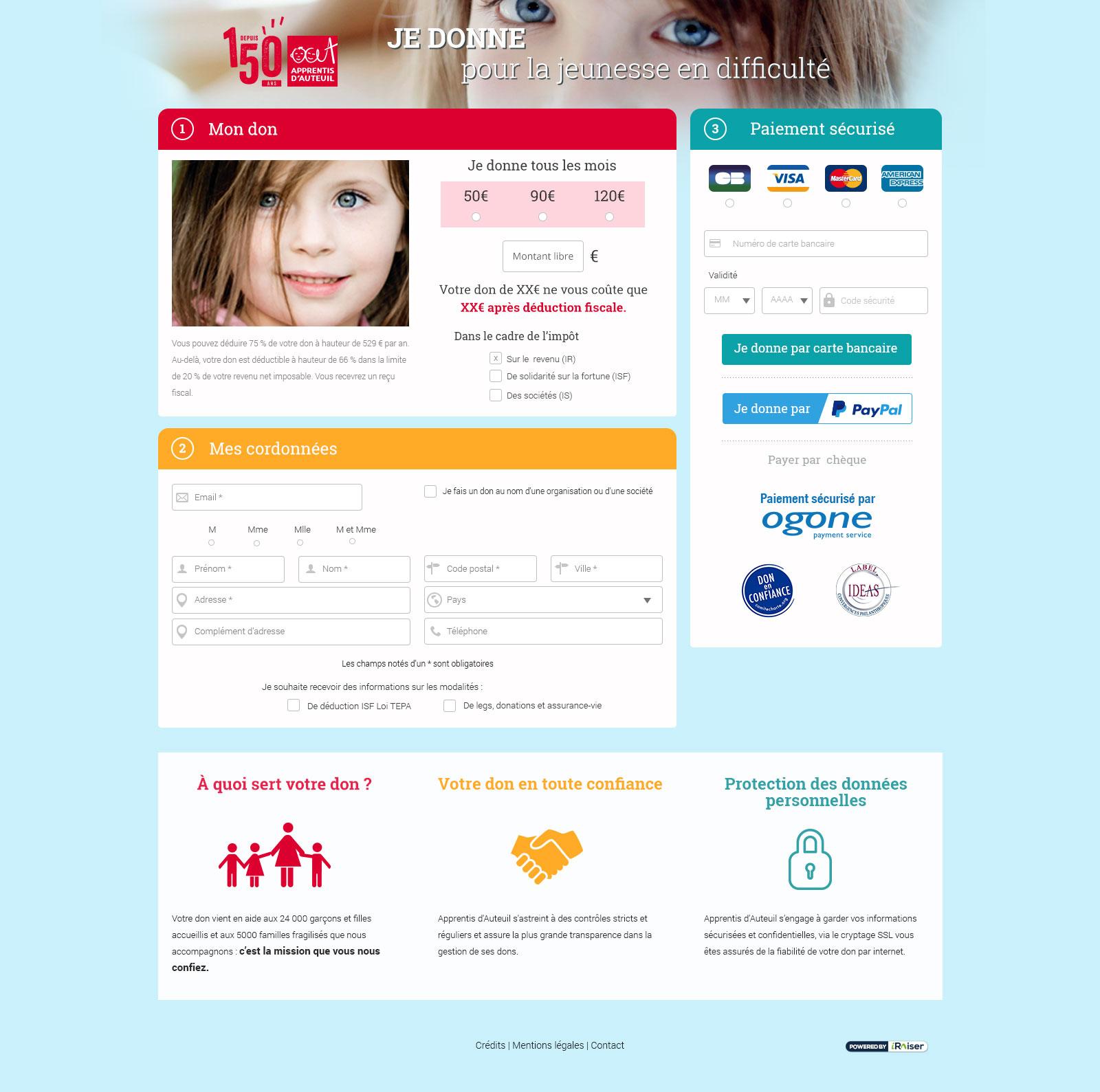 Interface - Maquette Page don en ligne